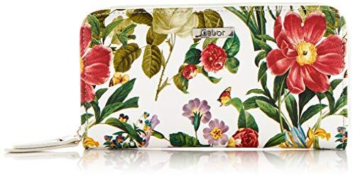 Gabor Damen Granada Spring Geldbörse, Weiß (Blumen Weiß), 20x10.5x2.5 cm