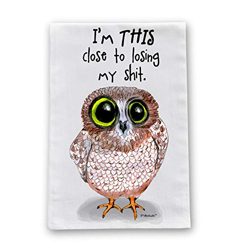 Losing It Owl Flour Sack Cotton Dish Towel by Pithitude