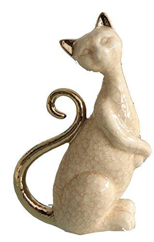 GILDE Statuette décorative en céramique Crème/champagne 7,5 x 13 x 19,5 cm