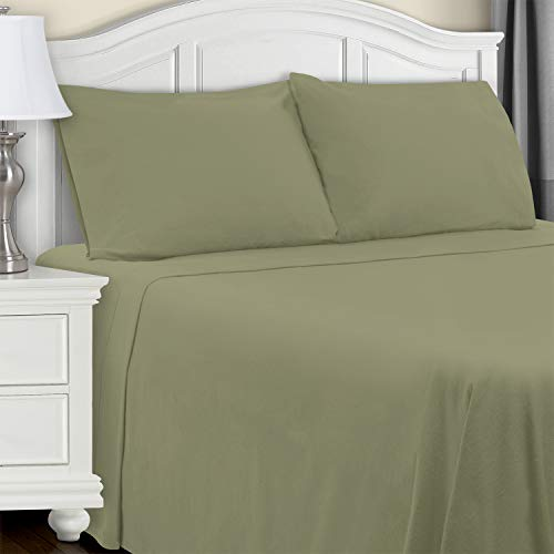 Blue Nile Mills Extra Soft Fitted Sheet, Sage Solid, Twin XL