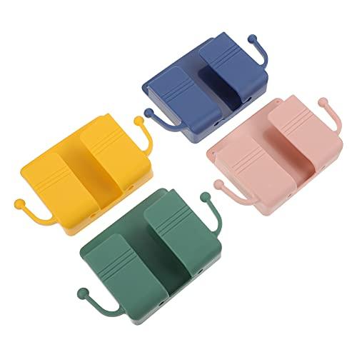 POPETPOP Soporte de Pared para Teléfono para Cama Soporte de Pared para Control Remoto de 4 Piezas Soporte de Cargador de Pared Autoadhesivo para Teléfono Móvil con 2 Ganchos Laterales