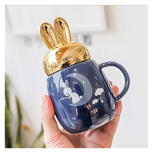 Taza para beber Tazas de cerámica de la historieta con la hermosa tapa del tapa del tapa de la tapa del taza del té del té del café del café del café del desayuno de la leche de la leche de oro