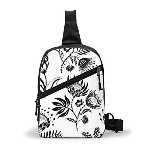 Protea Schwarz und Weiß Brust Sling Bag Crossbody Rucksack Schulter Casual Daypack Rucksack für Männer Frauen Outdoor Radfahren Wandern Reisen