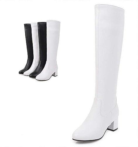 Stiefel De damen - Tacón Alto Grueso con Stiefel Largas De damen Antideslizante Cabeza rotonda Impermeable Era Stiefel De Nieve Delgadas   34-39