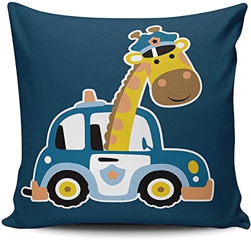 BONRI Funda de almohada decorativa para sofá, diseño de jirafa en el coche de la policía, 45,7 x 45,7 cm, cuadradas, fundas de cojín-Multi 08