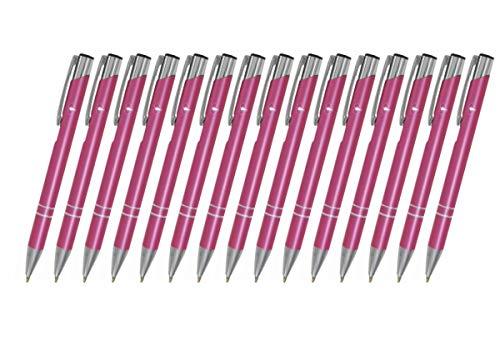 Creativgravur 15 Metall-Kugelschreiber-Set Magic, Blaue Großraummine, Farbe:C-16 (pink)