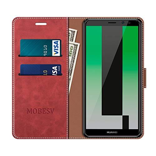 MOBESV Handyhülle für Huawei Mate 10 Lite Hülle Leder, Huawei Mate10 Lite Klapphülle Handytasche Case für Huawei Mate 10 Lite/Huawei Mate10 Lite Handy Hüllen, Modisch Rot - 4