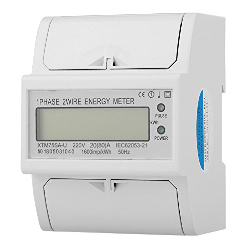 wosume 【 】 K DIN-Schienen-KWh-Messgerät, 220 V Digital 1 Phase 2-Draht 4P DIN-Schienen-Stromzähler Elektronisches KWh-Messgerät(20(80) A)