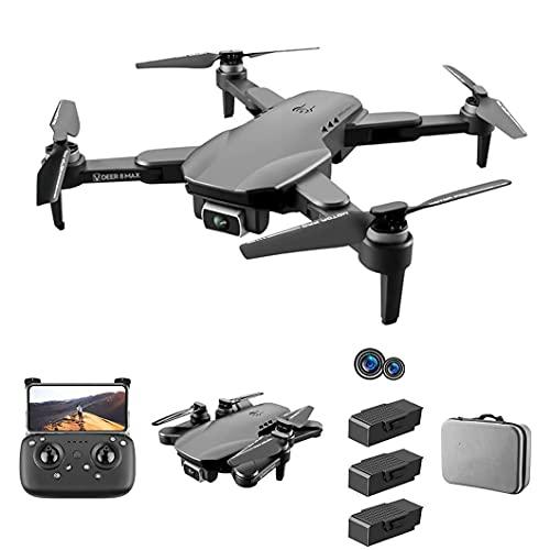 Droni per adulti Pieghevole a 4 assi per adulti, velivolo telecomandato a doppia fotocamera ultra-trasparente 6K, durata della batteria eccellente, versione a 3 batterie, con custodia, sollevamen