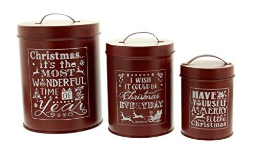 Festive Productions P007756 Set di 3 vasi di Latta Rossi con Parole Bianche, Metallo, Rosso, 13 x 13 x 16 cm