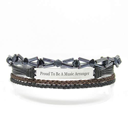 Miiras Job Handgemachtes Armband für Frauen - Proud to Be A Music Arranger - Schwarz - Aus Geflochtenes Seil und Rostfreier Stahl - Gift for Music Arranger