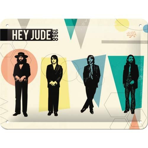 Nostalgic-Art Retro Blechschild Fab4 – Hey Jude – Geschenk-Idee für Beatles-Fans, aus Metall, Vintage-Design zur Dekoration, 15 x 20 cm