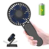 Portable Handheld Fan, ITSHINY 2500mAh Battery Powered Personal Desk Fan with 3 Speeds, Strong Wind, Foldable Design for Kids Girls Woman Home Office Outdoor Travel - Black