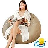Puf reclinable para jugador, sofá inflable al aire libre, lavable, para sala de estar, tumbona, dormitorio, puf, silla ultra suave, sin relleno, decoración del hogar, sofá hinchable (Khaki)