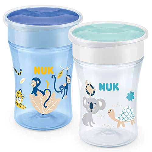 NUK Magic Cup vaso antiderrame bebe | Borde a prueba de derrames de 360° | +8meses | Sin BPA | 230ml | Mono/Koala (Azul) | 2unidades