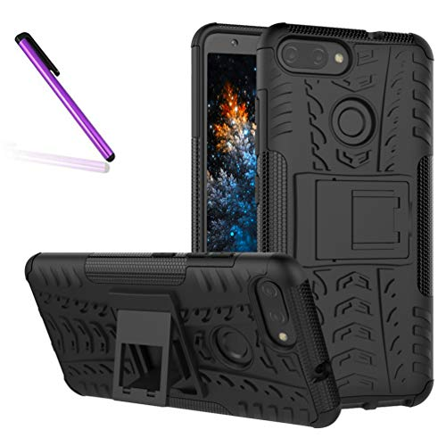 COTDINFORCA Case for ZenFone Max Plus Tyre Pattern Design Heavy Duty Tough Protection Case with Kickstand Shock Absorbing Detachable 2 in 1 Case Cover for ASUS ZenFone Max Plus ZB570TL. Hyun Black