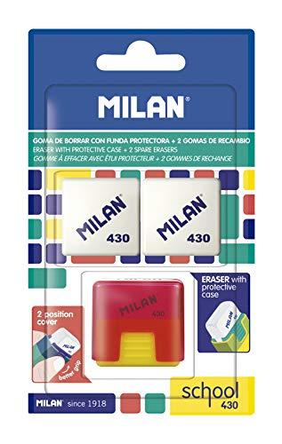 MILAN Blister goma School 430 con goma de recambio, blanco