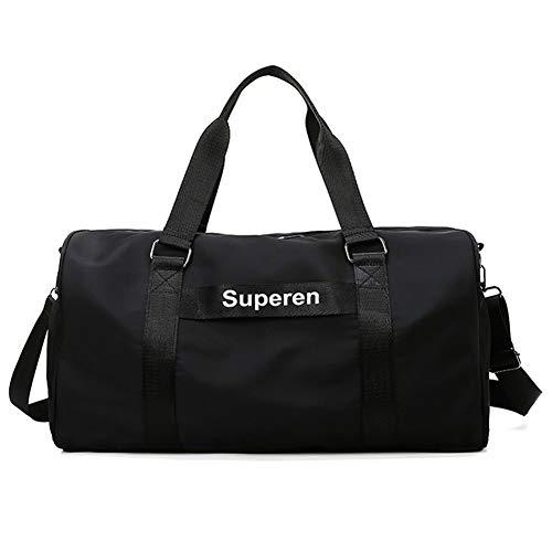 Sports Gym Bag, Unisex Tote Bag, Lightweight Large-Capacity Shoulder Bag, Waterproof and Wear-Resistant, Independent Shoe Compartment (Black)