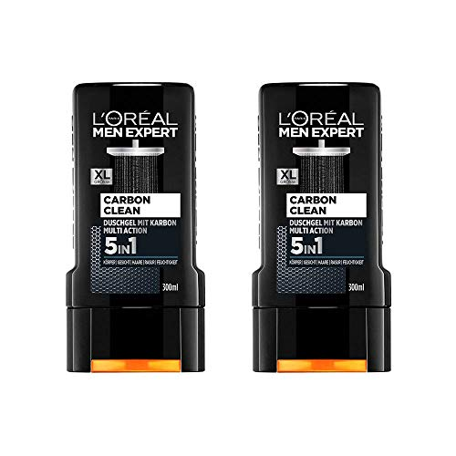L'Oréal Men Expert Carbon Clean Duschgel, reinigt sensible Männerhaut (Gesicht, Körper und Haare) spendet Feuchtigkeit maskulin-würziger Duft (2 x 300 ml)