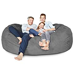 Lumaland Luxury Bean Bag Chair with ultra-soft and Machine washable micro suede outer cover. Great touch and feel for kids, teens and adults, with beige polyester inner cover - so you can still use your lounge chair during washing. A real Big Size So...