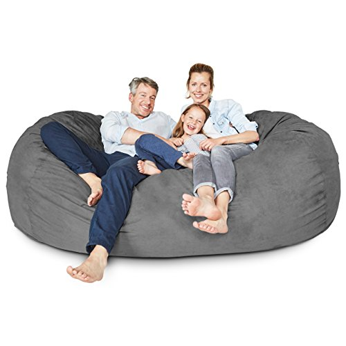 Lumaland Luxurious Giant 7ft Bean Bag Chair with Microsuede Cover - Ultra Soft, Foam Filling, Washable Jumbo Bean Bag Sofa for Kids, Teenagers, Adults - Sack Chair for Dorm, Family Room - Dark Grey