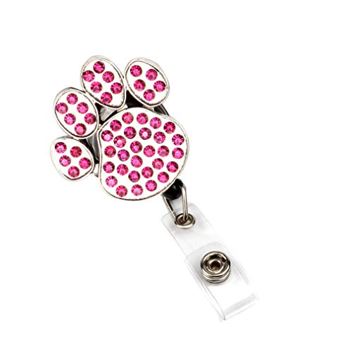 Surlove Dog Paw Print Retractable Badge Reel with Crystal Clip ID Name Tag Badge Holder (Purple Dog Paw Print)