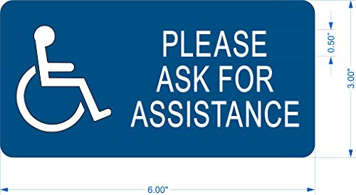 SignOptima Accessible' Ask for Assistance' Engraved Sign, 6'x3'