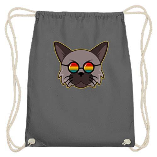 Bellissimo gatto con occhiali da sole arcobaleno Hippie – Design semplice e divertente – Gymsac di cotone, (Grafite grigia), 37cm-46cm
