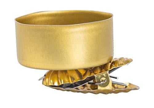 Rayher 25209616 Clip-Teelichthalter, Kerzenhalter für Teelichter, gold, 4 Stück, 4 cm ø, Baumkerzenhalter mit Clip, Metall
