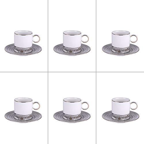 TABLE PASSION - COMETE Set 6 sous Tasses et Tasses à café 11cl