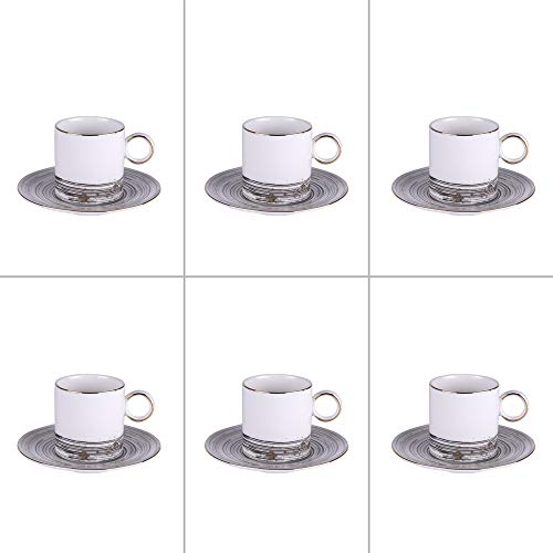 TABLE PASSION - COMETE Set 6 sous Tasses et Tasses à café 11cl