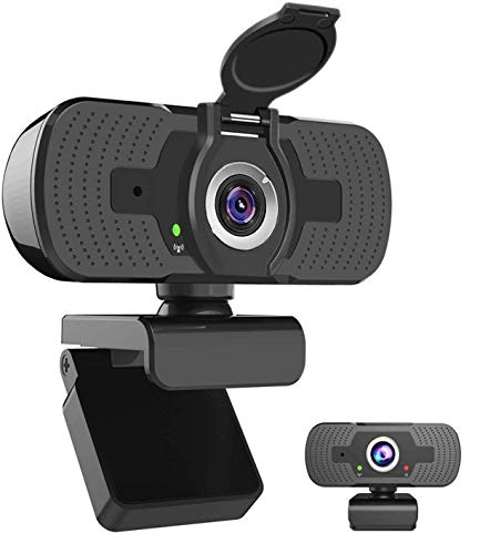 1080P Webcam Full HD, iAmotus Microfono Incorporato e Copertura Telecamera Plug and Play USB Fotocamera Web per Videochiamate, Studio, Conferenza, Registrazione, Giochi Compatibile con PC Windows Mac