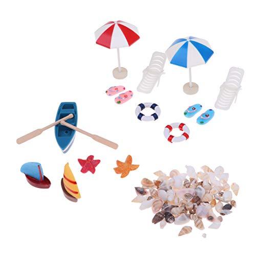 lahomia Sedia a Sdraio Ombrellone da Spiaggia Set da Barca Giocattolo da Giardino per Casa delle Bambole