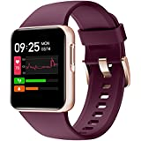 Smart Watch, HolaDream 1.4 Inch HD Touch Screen Smartwatch Fitness Tracker for Android & iOS Compatible 5ATM Waterproof Heart Rate/Sleep/Calorie/Blood Oxygen Monitor for Women Man (Purple)