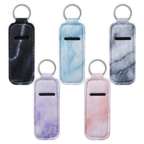 Beautyflier Clip-on Sleeve Chapstick Pouch Keychain Lipstick Holder Elastic Lip Balm Holster Travel Accessories