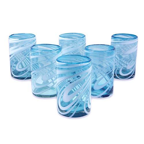 NOVICA Blue And White Swirl Hand Blown Glass Water Glasses, 15 Oz, 'Whirling Aquamarine' (Set Of 6)