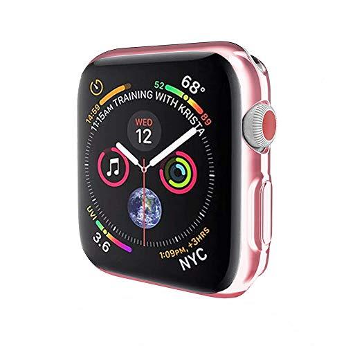 METEQI Custodia Compatibile per Apple Watch Series 5/4, Ultra-Thin Full-Body Plated Soft TPU Cover all-Around Protective Bumper Shell Case (40mm, Rosa)
