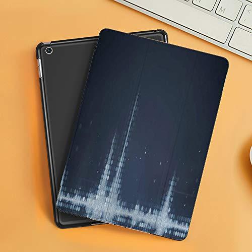 Funda iPad 10.2 Inch 2018/2019,Resumen Gris Amplitud Gris Audio Ecualizador de Forma de Onda Análisis de tecnología generada,Cubierta Trasera Delgada Smart Auto Wake/Sleep