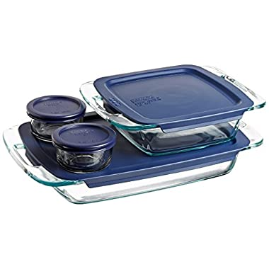 Pyrex 1093839 Easy Grab 8-Piece Glass Bakeware and Food Storage Set