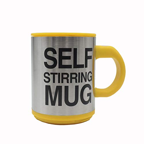 N A Self Stirring Coffee Mug,Self Stirring,Electric Stainless Steel Automatic Self Mixing Cup and Mug,Best for Morning,Travelling, Home,Office 13.5oz/400ml/Yellow