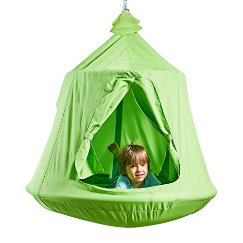 Kids Outdoor Waterproof Play Tent Hanging Hammock with Lights String (Green)