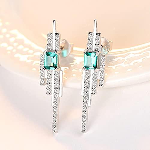 SALAN 925 Encantos De Plata Esterlina Cuadrada Esmeralda Azul-Verde Piedra Preciosa con Pequeños Pendientes De Botón Cz para Mujer Joyería Fina