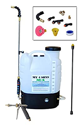 4-Gallon Battery Powered Backpack Sprayer Wide Mouth With STEEL WAND and BRASS NOZZLE with extended hose
