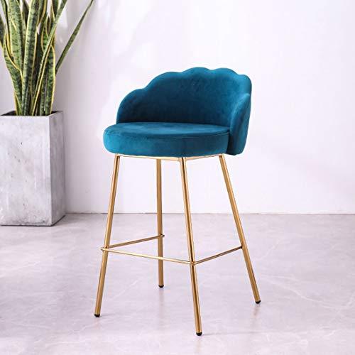 WYJL 11 kleuren fluweel barkruk, barkruk modern minimalistische stof zacht kussen, hoge kruk met rugleuning, restaurant ontvangst stoel 43 * 44 * 90cm Y1223