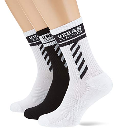 Urban Classics Unisex Sporty Logo 3-Pack Socken, White/Black/White, 47-50