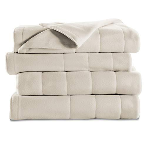 Sunbeam Heated Blanket | 10 Heat Settings, Quilted Fleece, Seashell Beige, Twin - BSF9GTS-R757-13A00