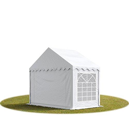 TOOLPORT Party-Zelt Festzelt 4x4 m Garten-Pavillon -Zelt ca. 500g/m² PVC Plane in grau-weiß Wasserdicht