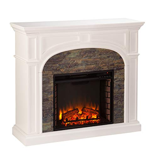 SEI Furniture Tanaya Faux Stacked Stone Electric Fireplace, White/Montelena Décor Dining electric Features Fireplaces Home Kitchen
