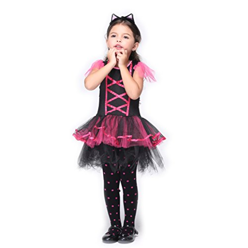 B-JOY Disfraz de Gatos Niños Ballet Falda Vestido Gatito Animales Disfraz Tutu Vestido con Cola y Orejas de Pelo Maduro Lila
