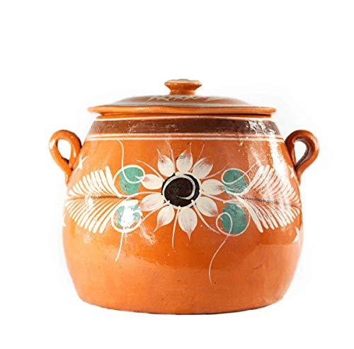 Olla De Barro Frijolera w/ Lid 3.5 Qt. Canterito Cazuela Traditional Floral Decorative Artisan Artezenia Lead Free